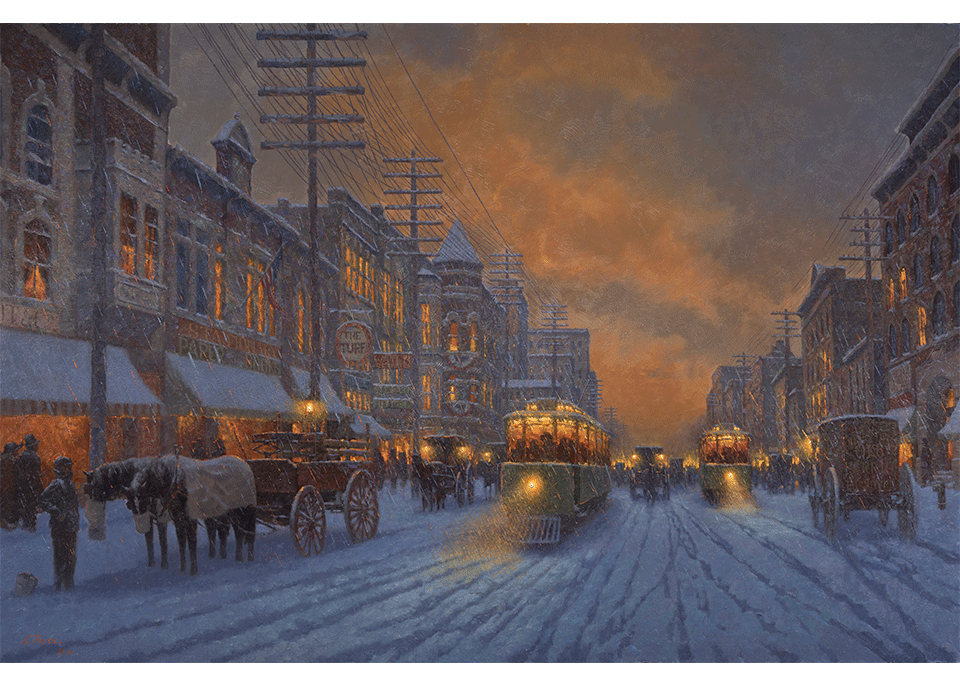 Winter Evening on Broadway - Oklahoma City - 1898