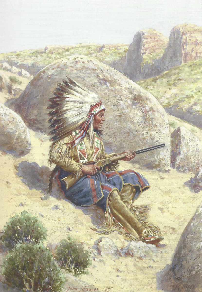 Indian Sitting on Rock with Rifle